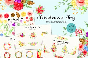 Watercolor Bundle Christmas Joy