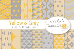 Grey & Yellow Digital Paper Pack