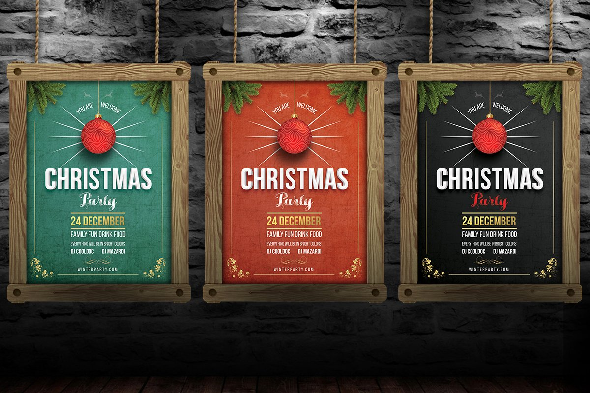 16d7a3e9b5771 Christmas New Year Template ~ Flyer Templates ~ Creative Market