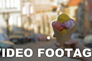 Ice-cream in waffle cone