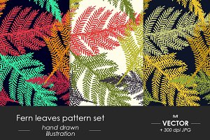 Forest Fern seamless pattern set