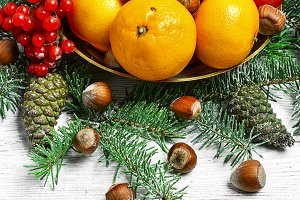 Christmas still life with citrus