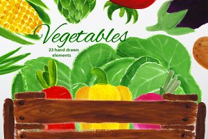Vegetables - gouache set