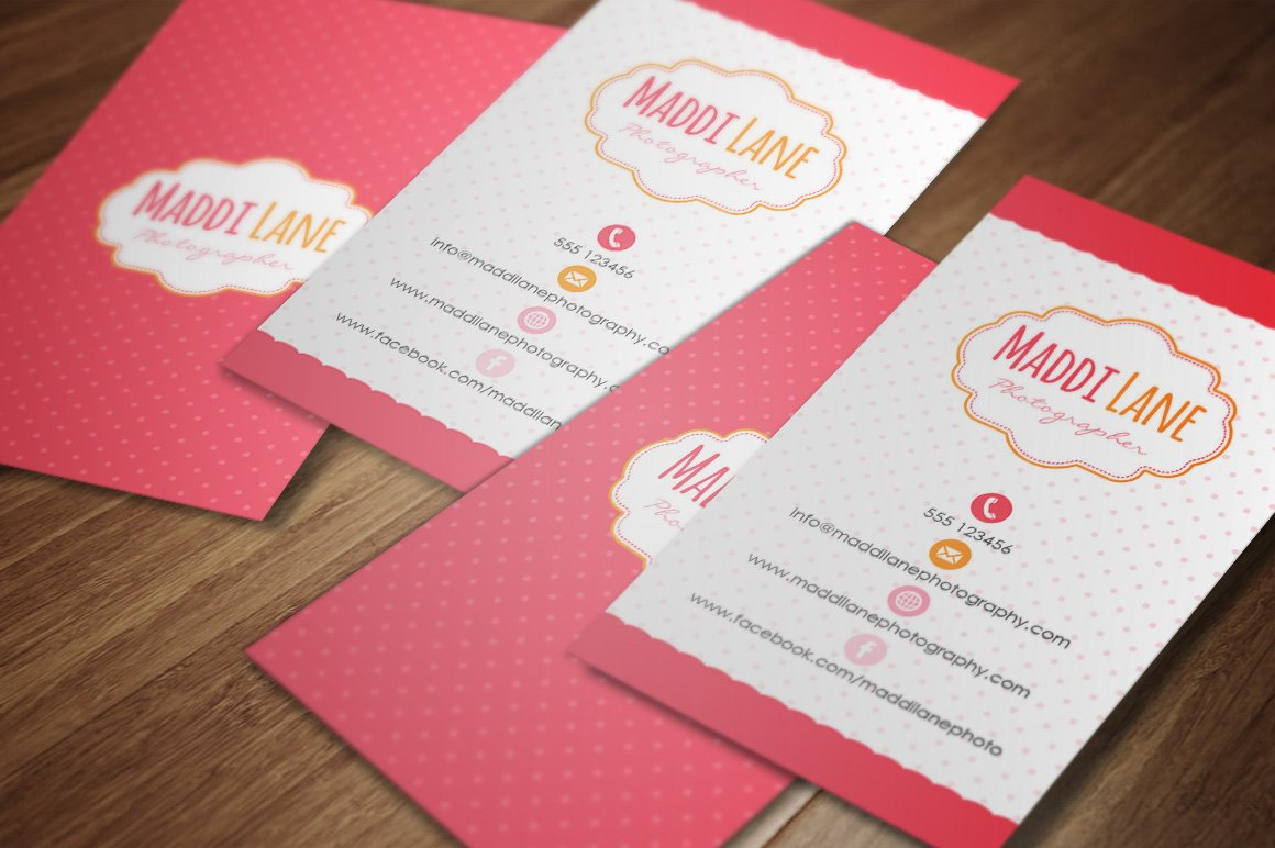 girly business card template business card templates creative market - Girly Business Cards
