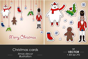Christmas cards set, vector sketch
