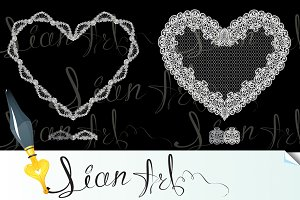 2 White Hearts, made of lace
