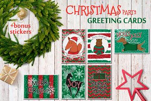 Christmas greting cards, vector set