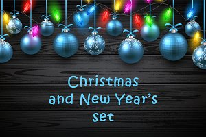 Christmas and New Year's wooden set