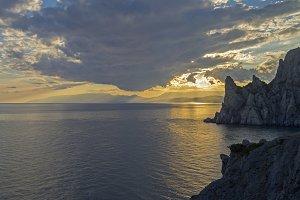 Coastal cliffs at sunset. Crimea.