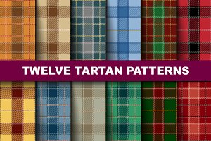 Twelve Seamless  Tartan Pattern