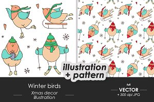 Winter birds, Christmas sketches
