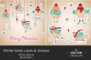Christmas winter birds card, sticker