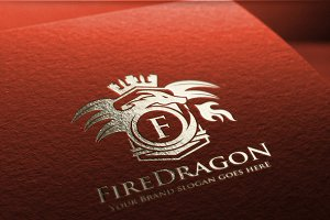 Fire Dragon Letter Crest Logo