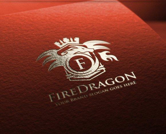Fire Dragon Letter Crest Logo