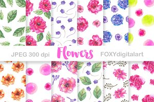 Watercolor Flowers Digital Paper