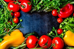 Food background with fresh organic vegetables. top view. frame