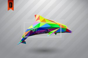 Dolphin from triangles color