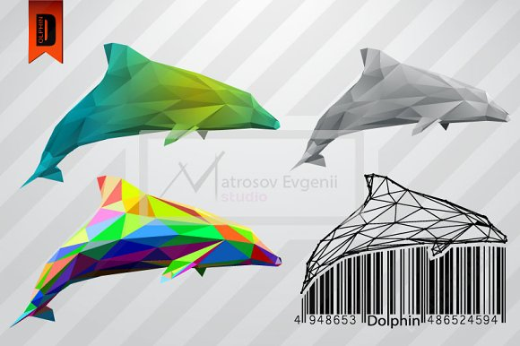 Dolphin from triangles. set - Illustrations