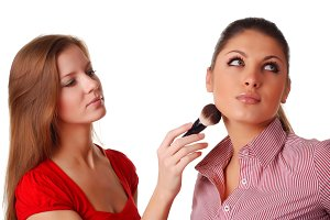 woman with brush for make-up