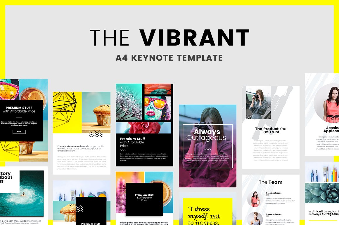 Vibrant A4 Printable Keynote Presentation Templates Creative