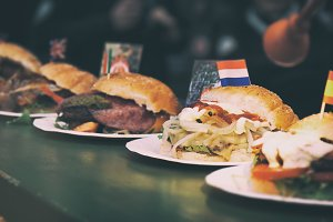 Street food concept with burgers