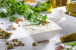 Tartar tartara sauce with ingredients