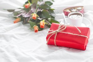 Holiday concept with gift and flower