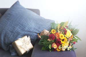 Home or holiday concept with flowers
