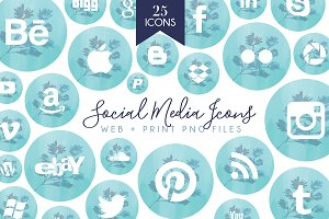 Tiffany Social Media Icons Set