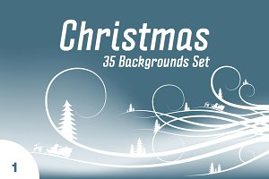 35 Christmas Backgrounds Set