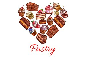 Pastry label in shape of heart