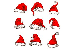 Santa Claus red hat icons