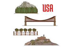 American landmarks vector icons