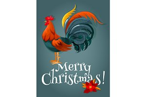 New Year card with red rooster