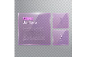 Relistic purple glass banners