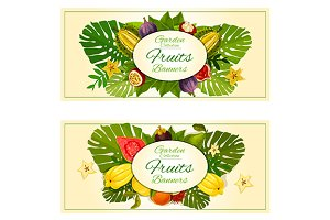 Tropical fruits banners