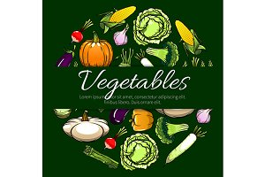 Vegetables vector poster