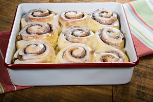 Pan of baked cinnamon rolls