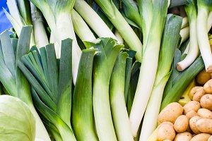 Fresh leeks at the market