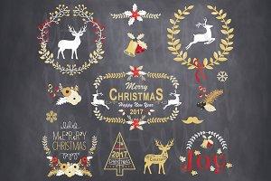 Gold Vintage Christmas Chalkboard
