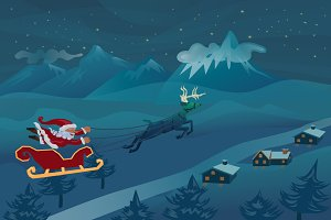 Santa flying with deer