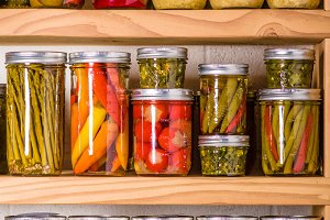 Pantry shelves with jars