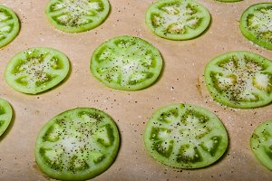 Sliced green tomatoes