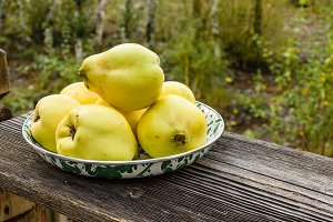 bowl of fresh quince