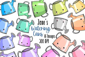 Kawaii Watering Cans Clipart