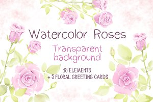 Set of greeting cards with roses