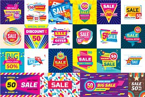 Sale & Discount Vector Banners Set