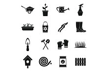 Gardening icons set, simple style
