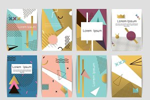 Memphis pattern cards vector set