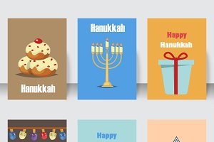 Hanukkah jewish holiday cards set